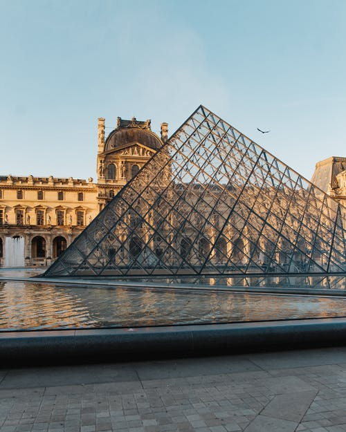 The Pyramid in Louvre Museum in Paris France