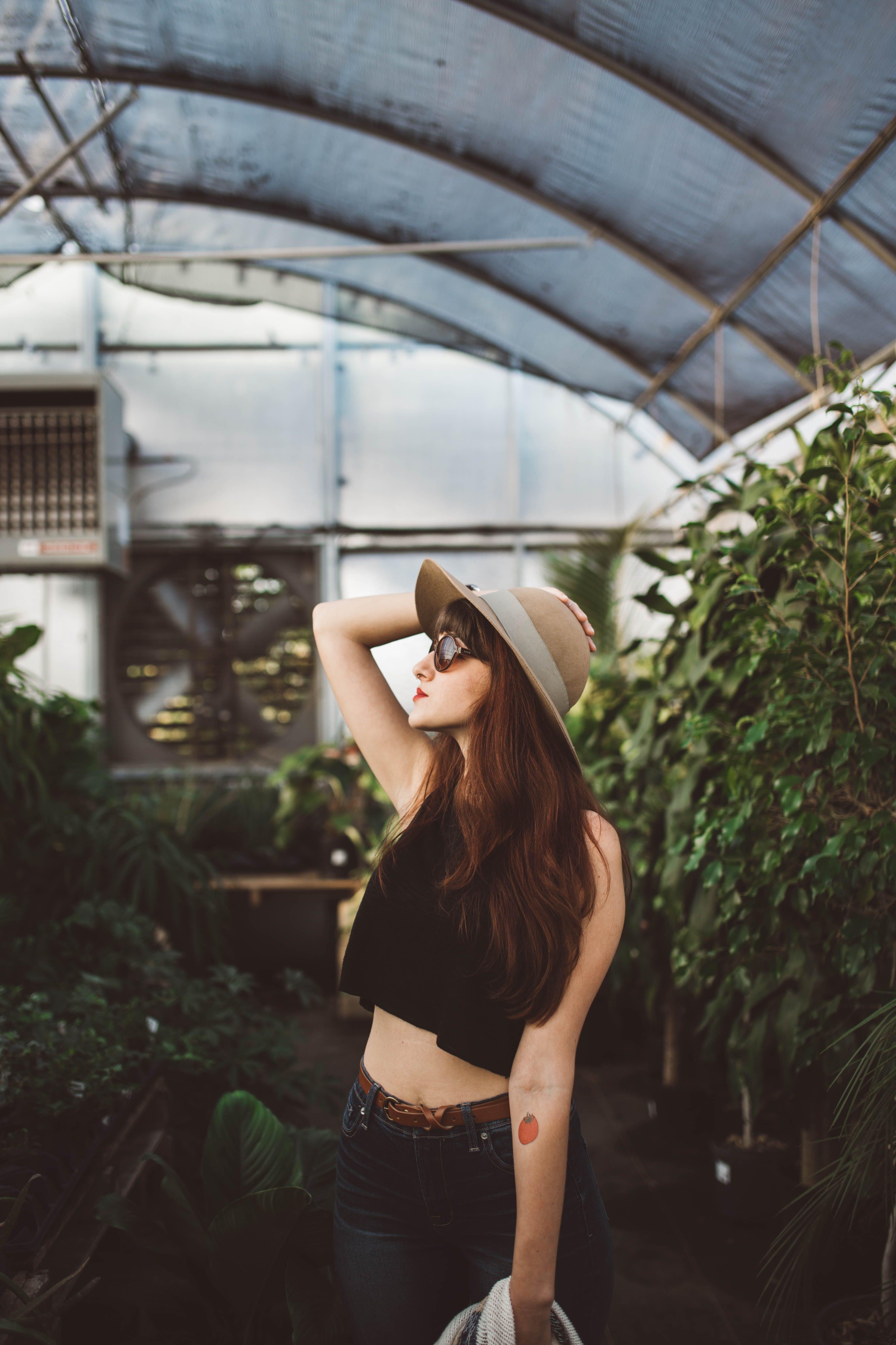 Free stock photo of woman, girl, plants, greenhouse