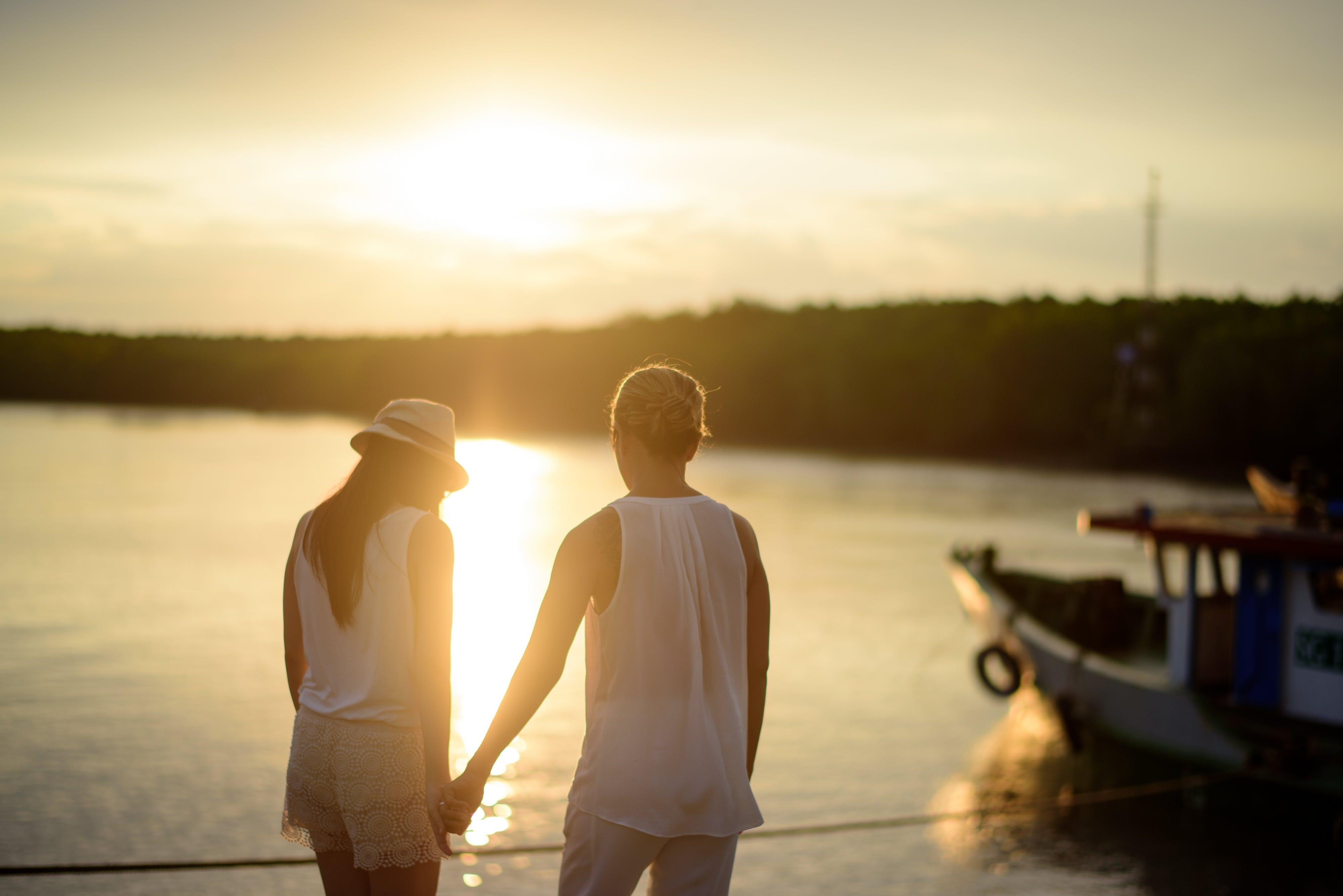 Free stock photo of sunset, man, vacation, couple