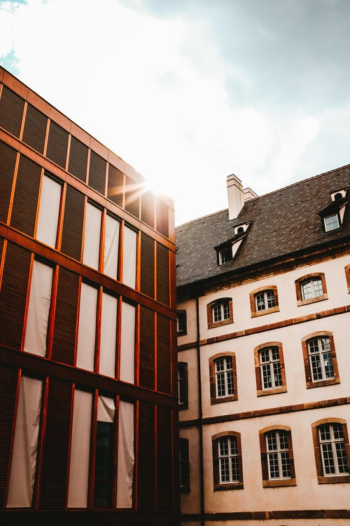 Exterior of historic building located in Colmar on sunny day