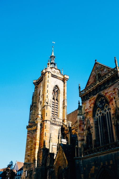 Facade of historical church on street