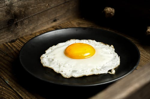 Sunny Side Up Egg on Black Round Plate