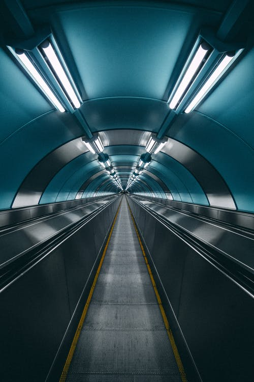 A Moving Walkway in an Underground Subway Station