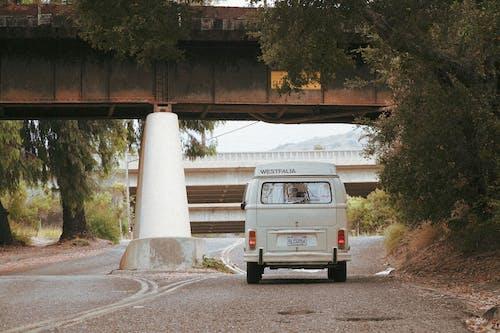 A Camper Van Traversing a Road