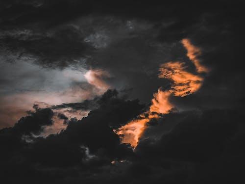 Dramatic dark clouds in sundown sky