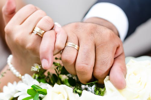 A Couple Wearing their Wedding Rings