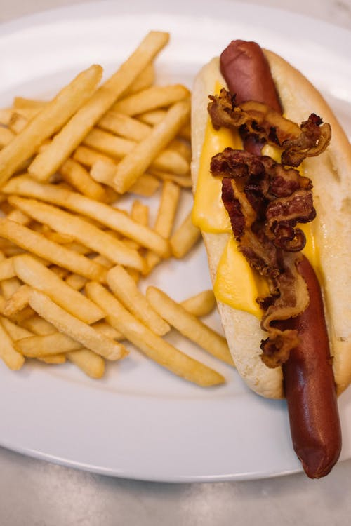 A Plated Fast Food of Sandwich and Fries