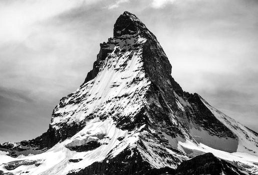Free stock photo of snow, black-and-white, winter, mountain
