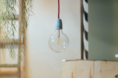 Red and White Light Bulb