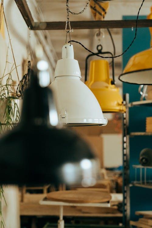 White Pendant Lamp Turned on