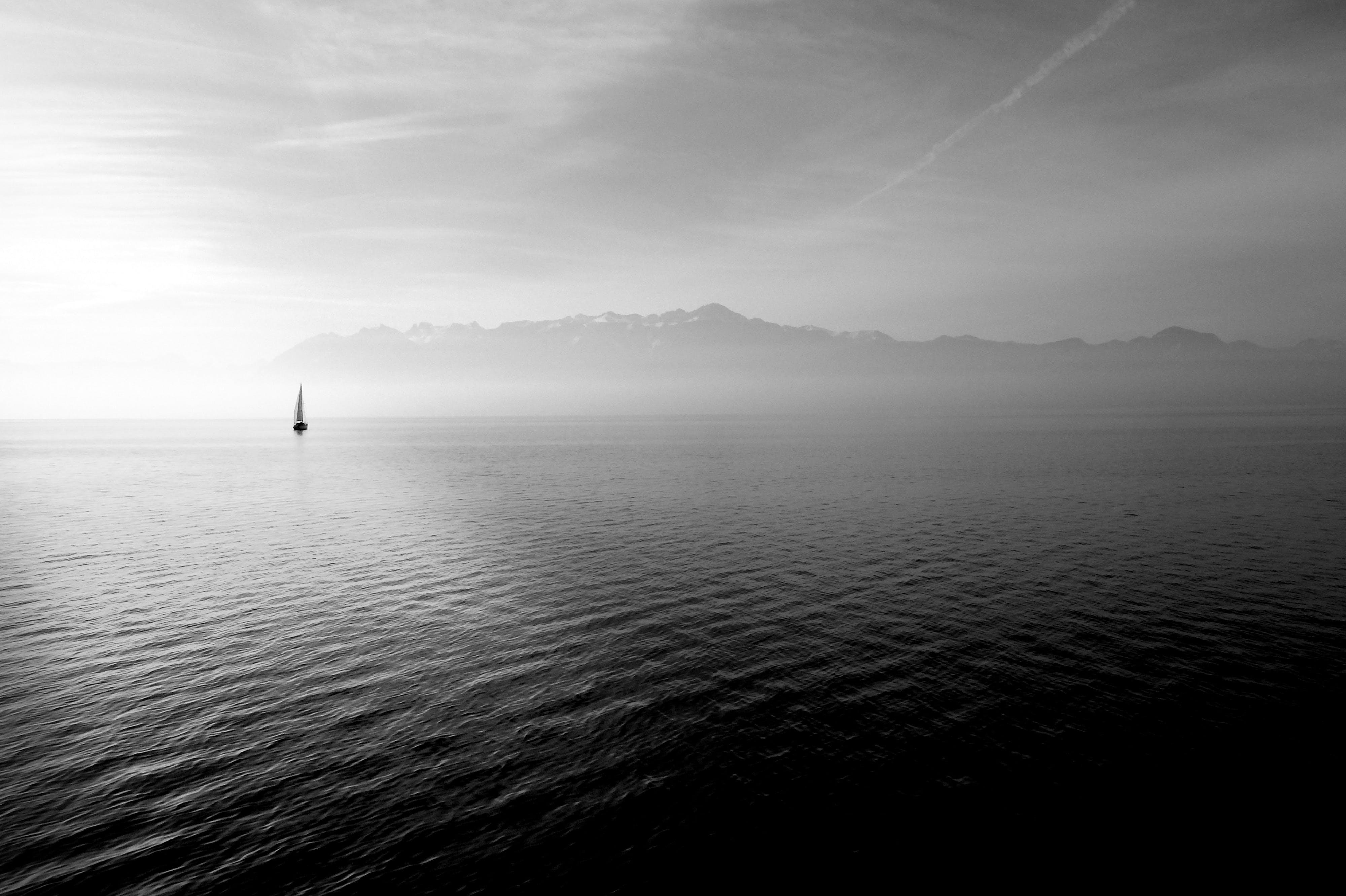 Free stock photo of sea, black-and-white, mountains, nature