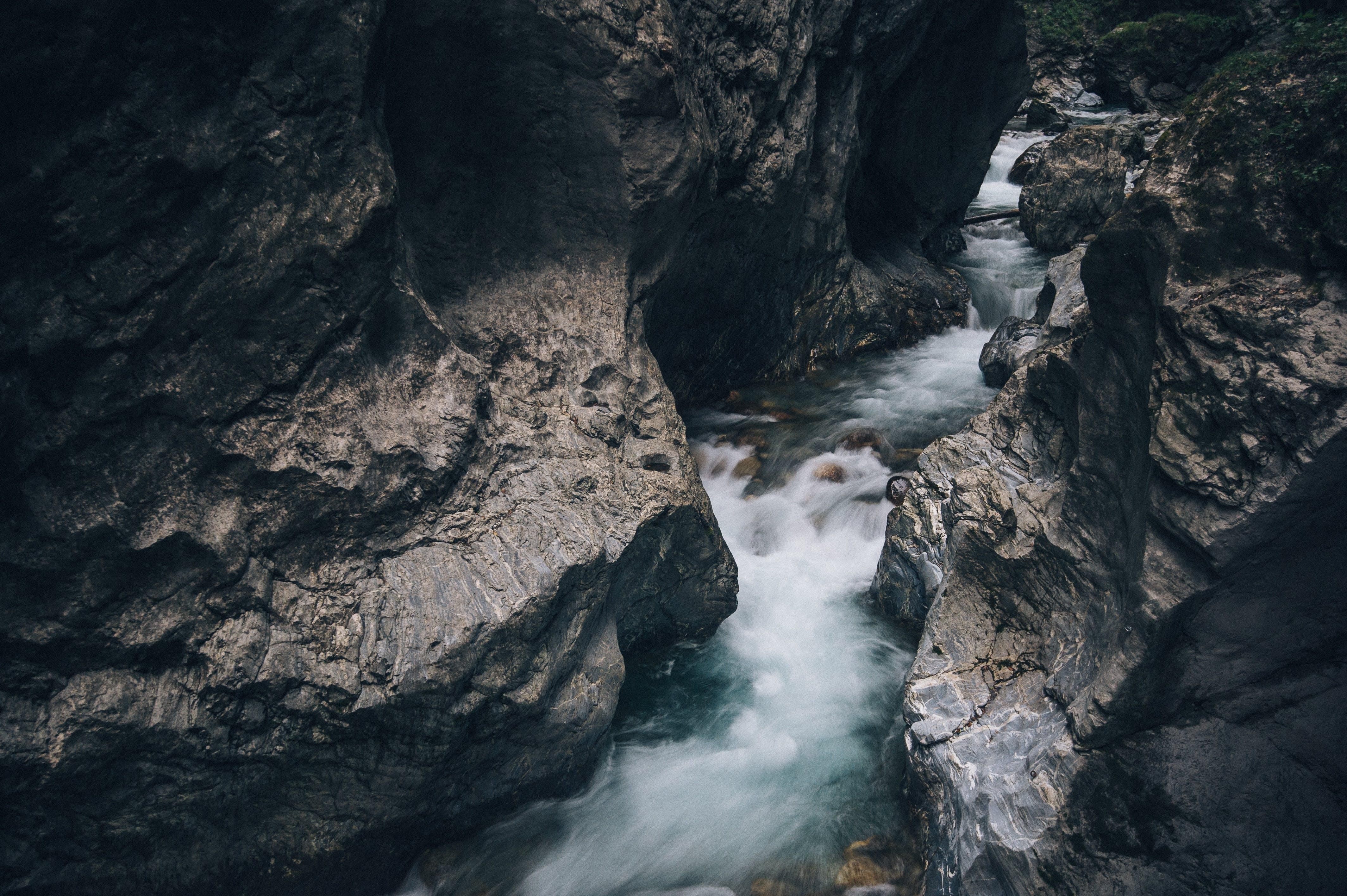 Sea Water Running in Between Rock Crevices