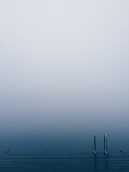 Free stock photo of jetty, water, fog, foggy