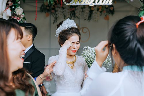 Happy Asian bride on wedding day