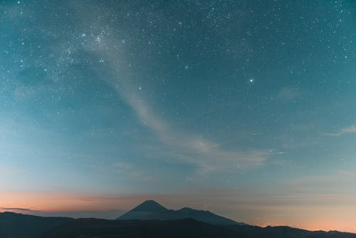 Scenic View of Silhouette of Mountains under a Starry Night Sky