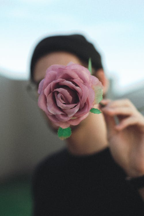 Man holding pink rose in front of face