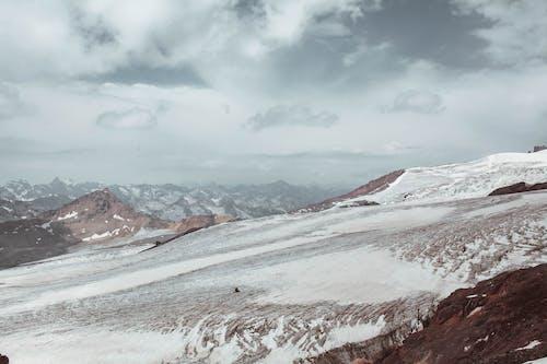 Mountainous ridge in snow on height