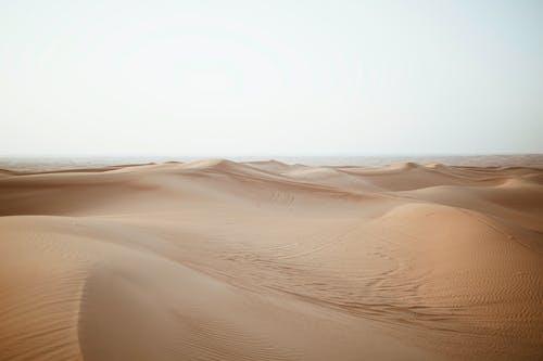 Sand dunes in desert under cloudy sky