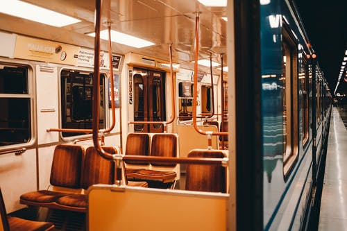 Empty train on modern subway station