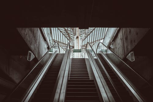 Subway station with staircase and escalators