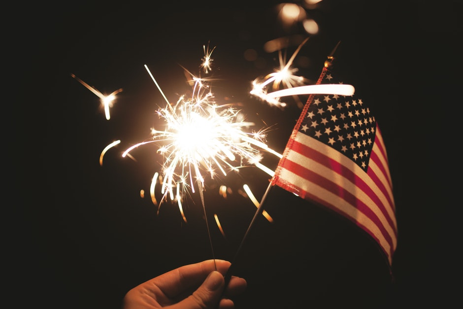 4th of july, American flag, firework