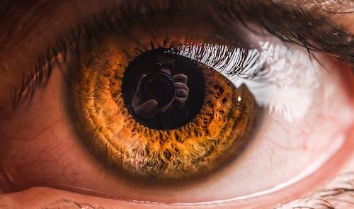 Macro Shot of a Person's Eye Reflecting a Camera