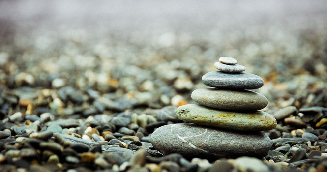 Stack Pebbles on the Ground