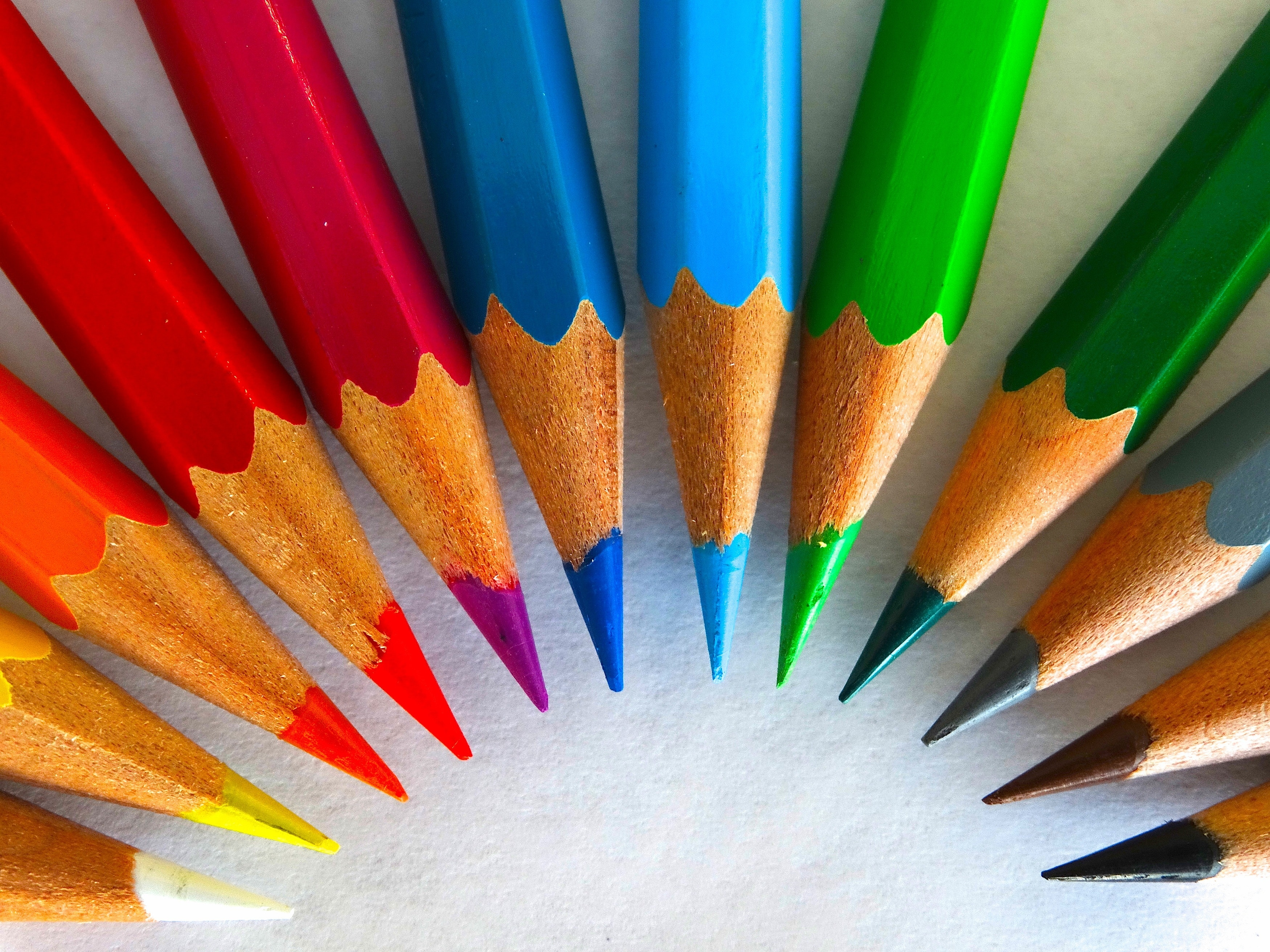 green red yellow colored pencil free stock photo
