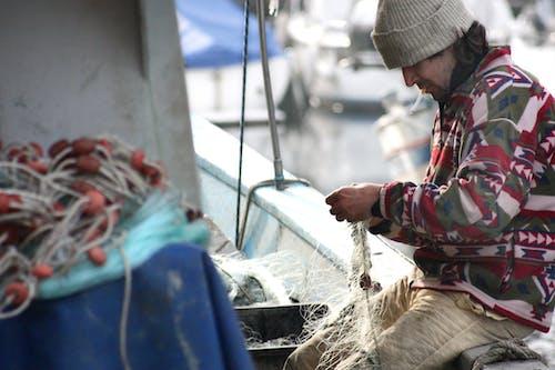 Foto stok gratis bersih, jaring ikan, kapal, memancing