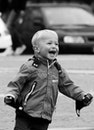 black-and-white, happy, child