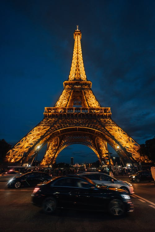 Eiffel Tower in Paris at Night Time