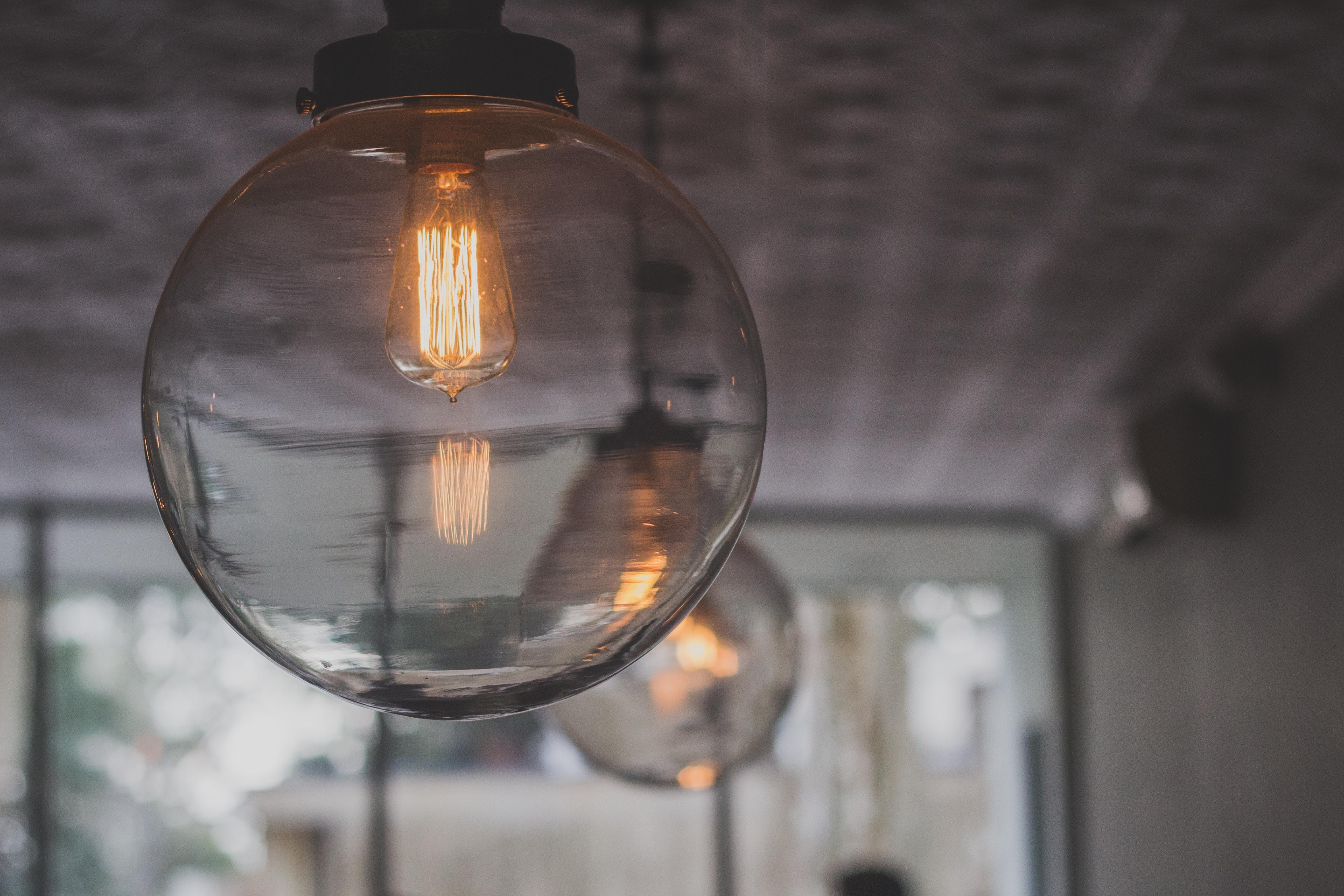 Clear Round Glass Bulbs Inside Room
