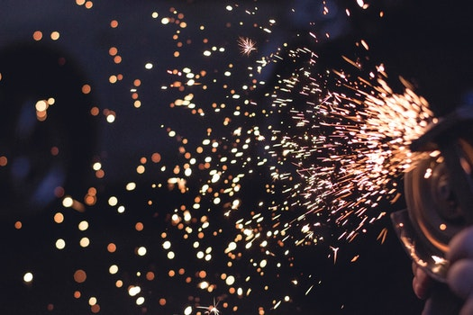 Metal Spark in Time Lapse Photography