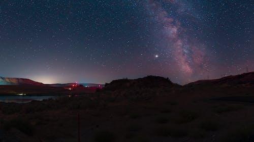 Бесплатное стоковое фото с galaxy, Астрономия, галактика, гора