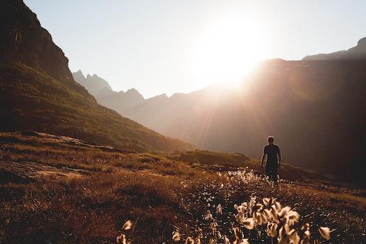 Free stock photo of mountains, person, walking