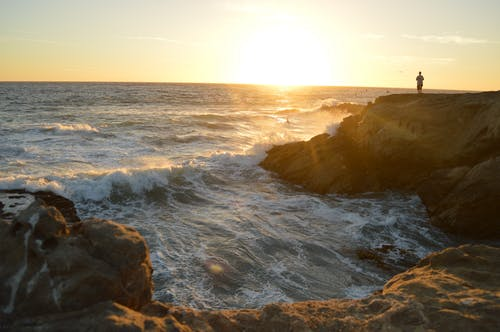ビーチ, フォーム, 夕方, 夜明けの無料の写真素材