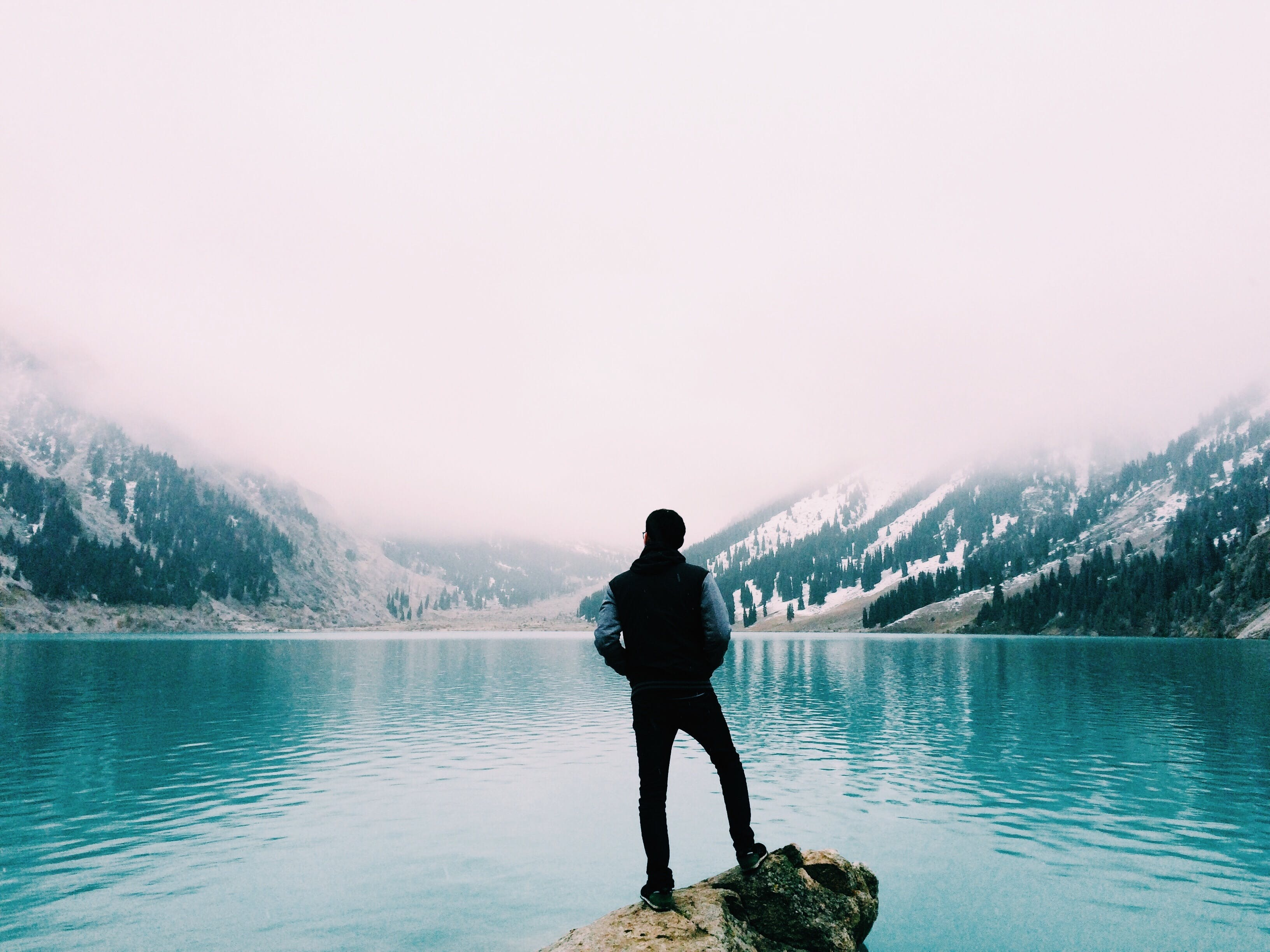Free stock photo of nature, man, water, mountain