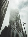 black-and-white, buildings, fog