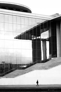 Person Walking Beside Curtain Wall Building During Daytime