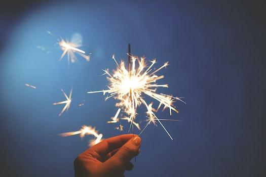 Free stock photo of firework, sprinkler, new year, sylvester
