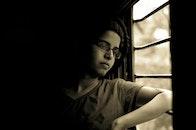 person, woman, window