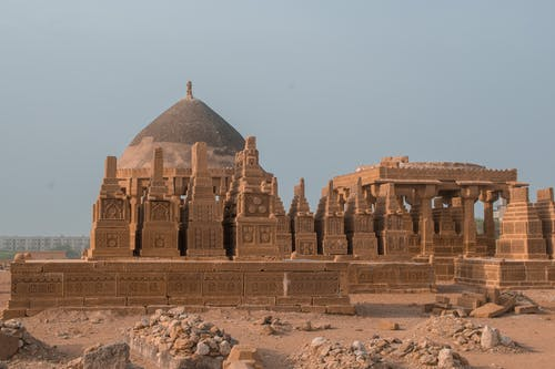 Picturesque view of famous medieval Chaukhandi tombs with pyramid shaped constructions located in Sindh province of Pakistan on sunny day