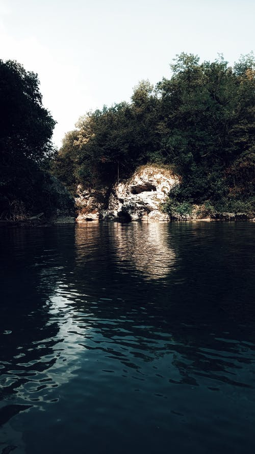 Calm river water in mountainous terrain