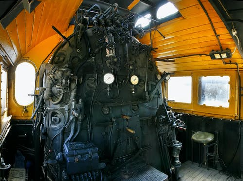 Black and Yellow Train Engine