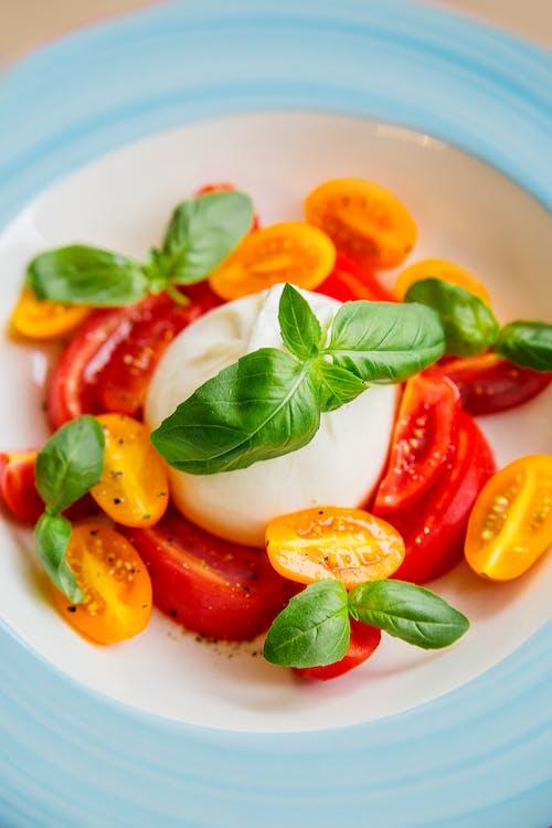 Photos gratuites de aliments, basilic, burrata
