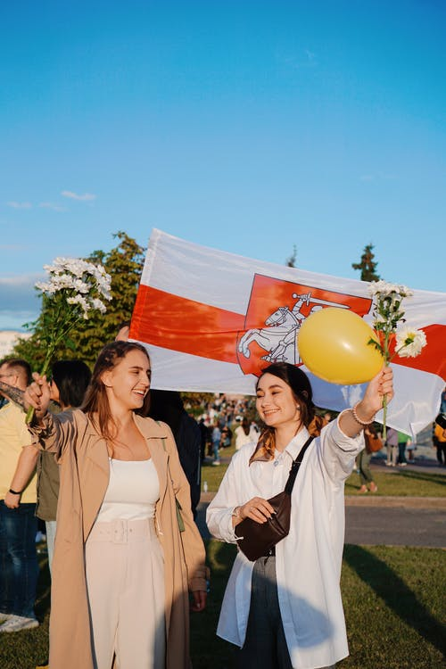 Peaceful Protesters Holding Balloon