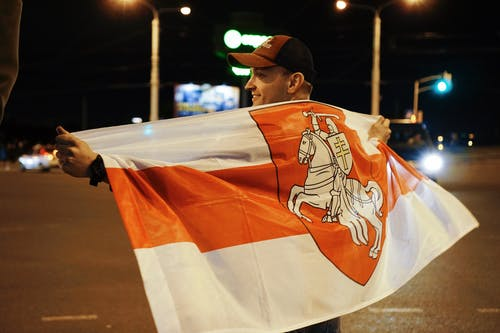 Protester Holding Belarusian Flag