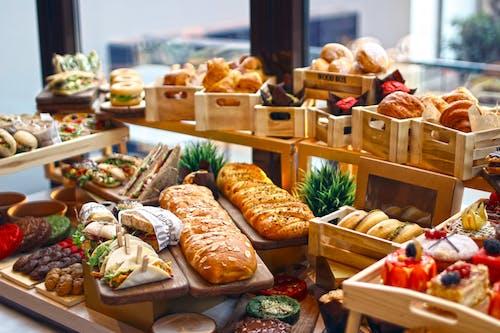 Bread on Brown Wooden Shelf