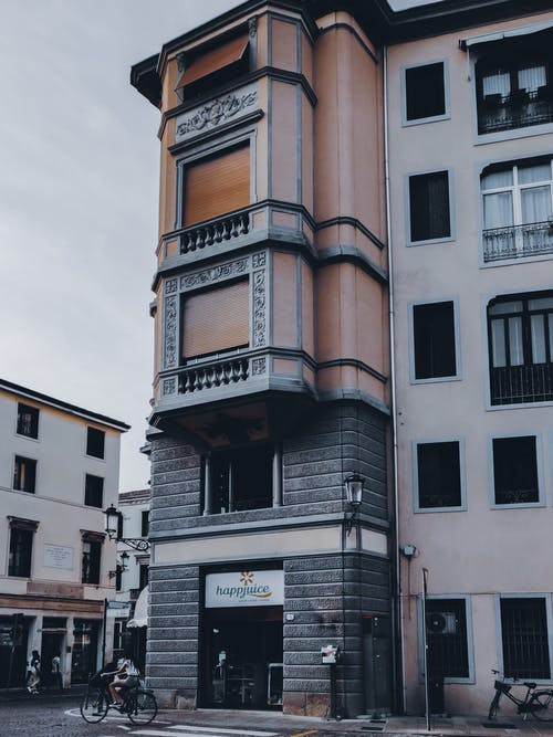 Facade of residential building in city
