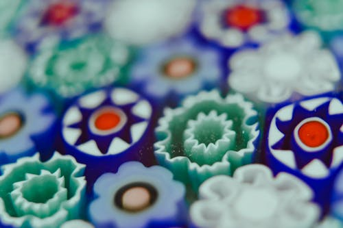 Set of colorful decorative elements of millefiori